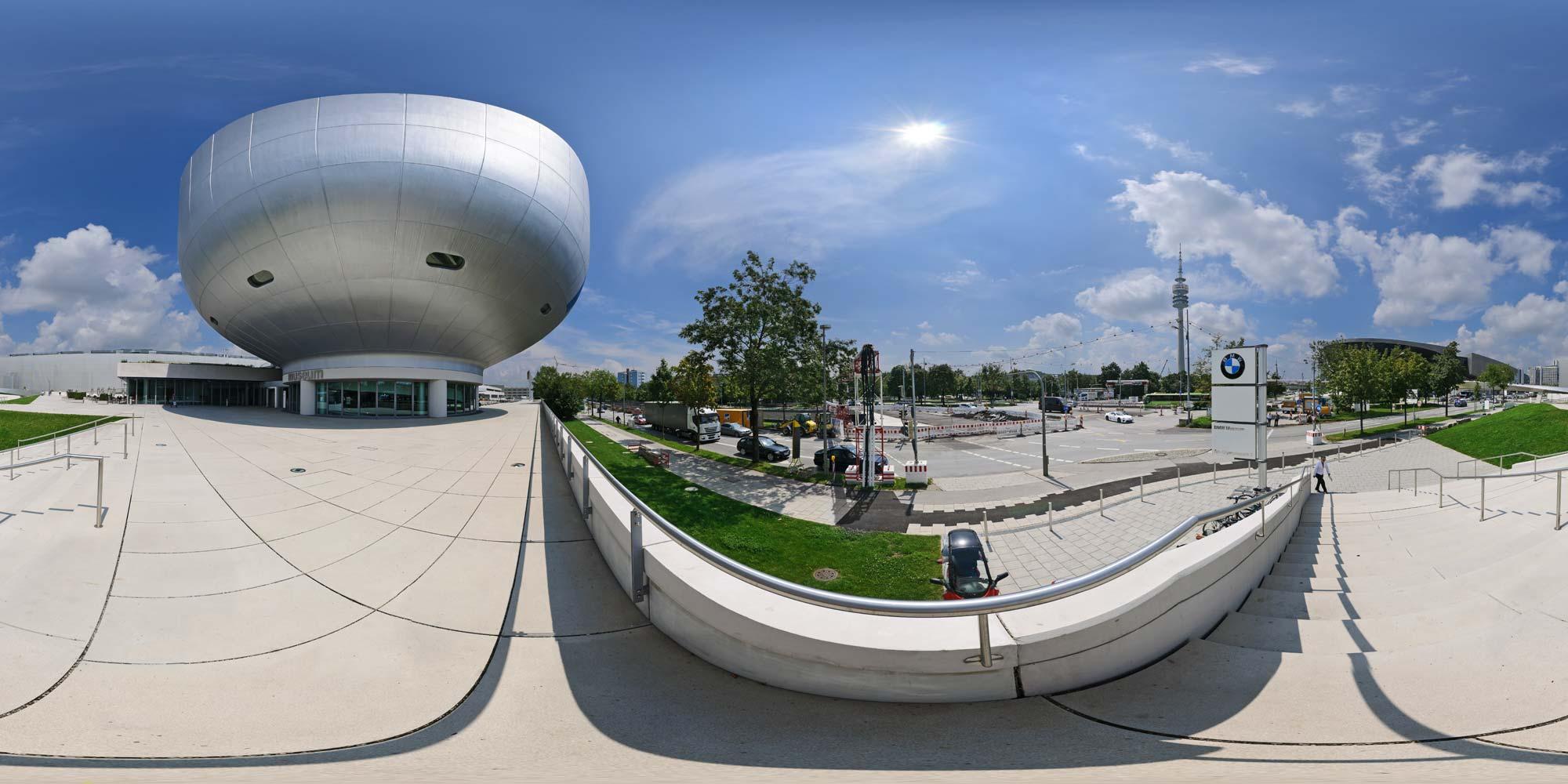 kubische panoramen panorama foto m nchen bmw gel nde bmw museum aussen. Black Bedroom Furniture Sets. Home Design Ideas