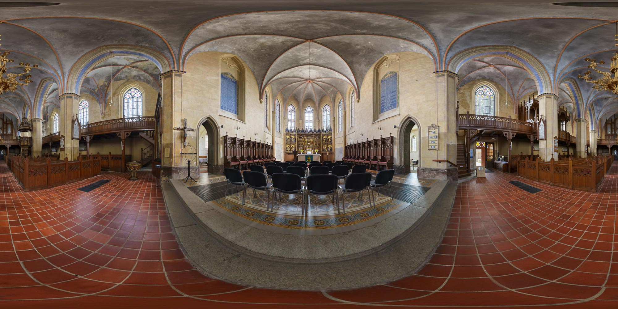 Panorama  Tribsees - Kirche - Altar